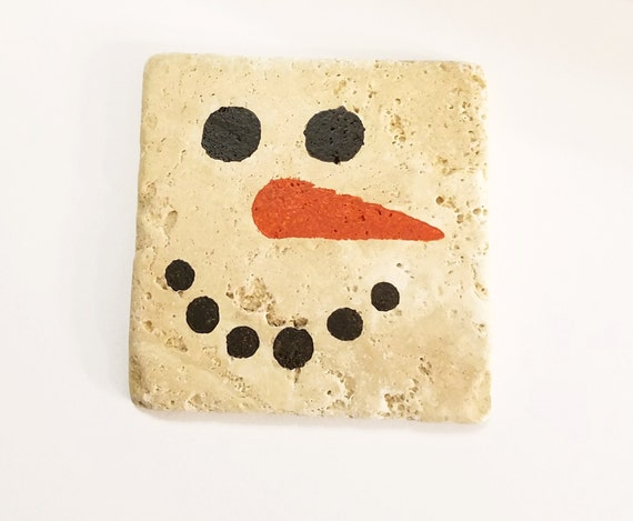 Drink Coaster Painted Snowman On Tumbled Stone Coasters
