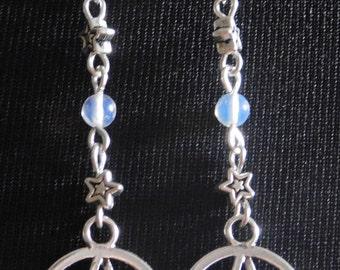 Moonstone Pentacle Pentagram Wicca Earrings