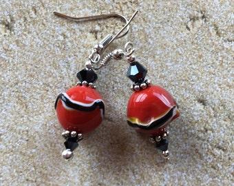 Red and Black Lampwork Earrings, Earrings, Beadwork Earrings, Glass Bead Jewelry