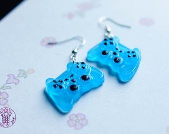 Skyblue Gamepad Earrings - Nickel free