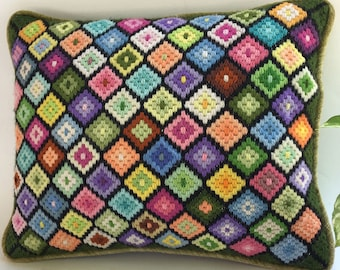 Modern Pillow Bohemian Pillow Needlepoint Pillow Modernist Needlepoint Wool Pillow Stained Glass Needlepoint Unicorn Colors Pillow