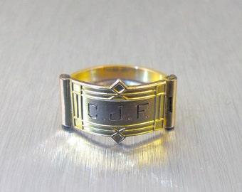 Vintage Guilloche Enamel Cigar Band Ring Sterling Silver Espo