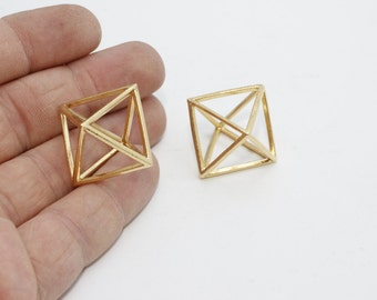 1 Pcs 20mm Gold Plated Open Triangle Necklace, Triangle Jewelry, Triangle Pendant, Open Cube , BRT367