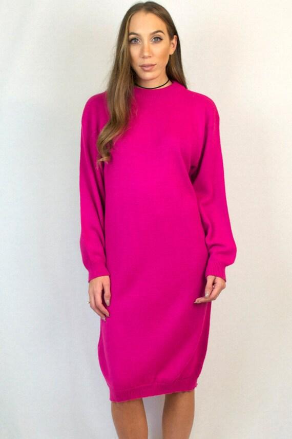 Vintage 80s Oversized Long Sleeve Funky Magenta Pink Crewneck Sweater Dress