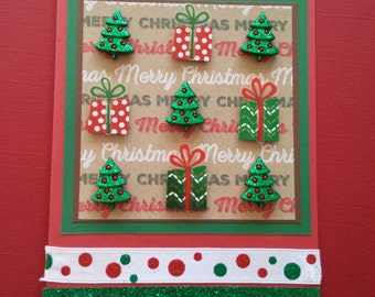 Christmas Tree and Present Greeting Card