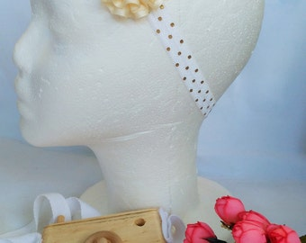 White Headband, Baby Headband, Gold Spotted Headband, Girls Accessories, Large Flower Headband