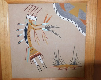 Navajo Sand Painting, Vintage Framed Native American sand art signed wall decor hanging