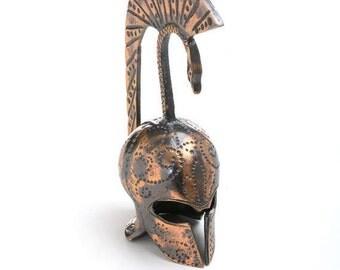 Ancient Greek helmet, bronze helmet replica, Greek helmet replica, bronze paperweight. Museum replica