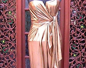 Small Stretch Gold Jumpsuit (Vintage 80s) (Top cover offered separately)