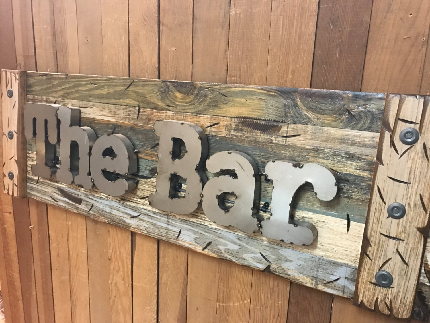 Navy Blue Metal Wall Art: The BAR Rustic Sign Reclaimed Shutter Distressed
