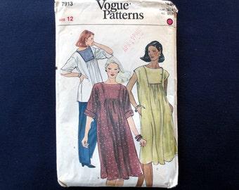 1980s Maternity Dress & Tunic Top Vintage Pattern, Vogue 7913, Size 12, Bust 34