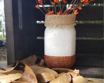 Fall Mason Jar, harvest decor, fall decor, harvest centerpiece, fall centerpiece, painted Mason Jar