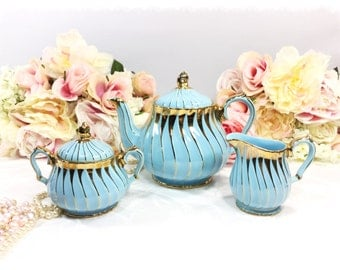 Blue and Gold Sadler 3 Piece English Teapot, Creamer & Sugar Bowl for Tea Time Tea Party, Baby Shower, Wedding, Blue Sadler Teapot #920