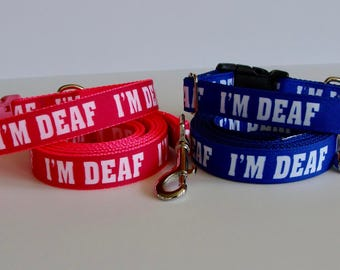 Deaf Dog Collar or Leash in Pink or Blue
