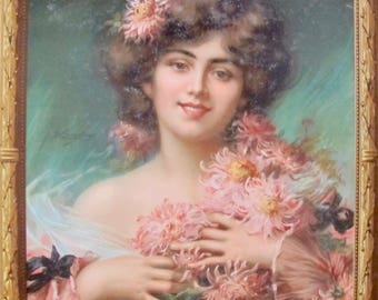 1910 Original French Advertising Carton, Biscuits Lefevre-Utile, Lady with Chrysanthemums