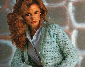Knitting Pattern Ladies Lacy Cardigan : womens knitting pattern womens sweater collar bow striped