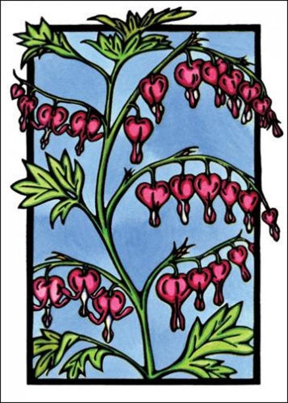 Bleeding Hearts - Single Blank Sarah Angst Greeting Card - Pink & Blue - Garden Flowers