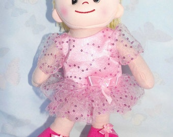 Ballerina dress for cloth dolls of pink 30 cm