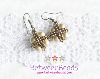 Pearl Earrings, Dangle Earrings, Bronze Metallic, Beads Earrings, Lightweighted, Fashion Earrings, Pearl Jewelry, Pearls
