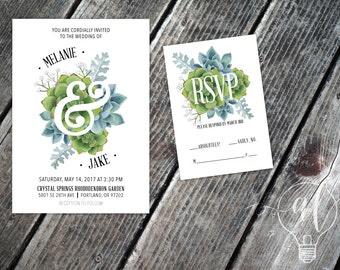 Watercolor Succulent Wedding Invitation   Succulent Wedding   Succulent  Invitation   Garden Wedding   Watercolor Succulent
