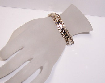 Rhinestone bracelet, white rhinestones, vntage rhinestones