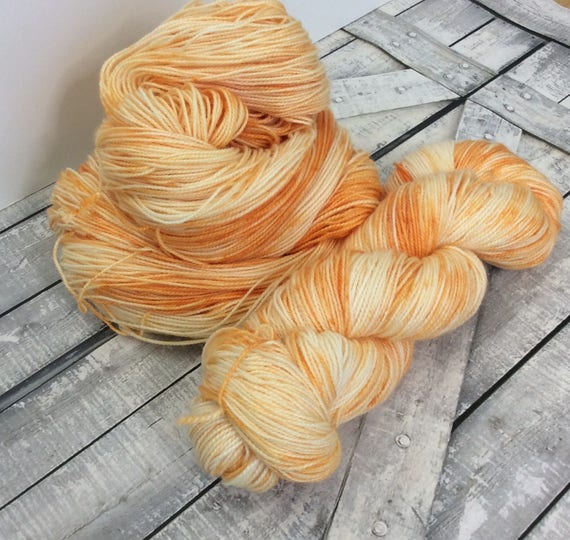 Hand Dyed Yarn,Orange Fizz,Penny Candy Yarn,Fingering Weight,2 ply,80/20 Superwash Merino,100 gram,indie dyed yarn,knit crochet,Toad Hollow