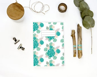 Note book 64 pages - TROPICAL design - stapled notebook made with recycled paper - leaf illustration