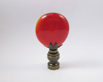 Lamp Finial:  True Red Glass Cabochon.  Lampshade Finial.  (CR12)