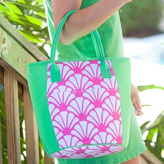 Insulated Tote Monogrammed Cooler Personalized Lunch Bag Beach Weddings Bridesmaids Gifts Pool Tote Beach Bag Teacher Gifts Highway12Designs