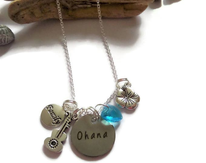 """LILO & STITCH inspired 20mm round tag charm OHANA Family  20"""" silver plated necklace fan gift Uk"""