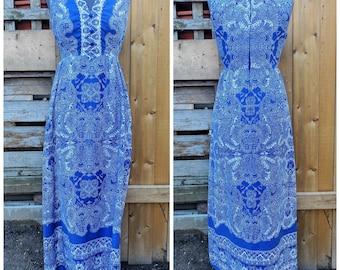 Vintage 1970's Mako Hawaii 100% Cotton Royal Blue and White Full Length Sleeveless Summer Maxi Dress