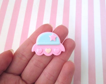3 Pastel Pink Fairy Kei UFO Spaceship Cabochons, #484
