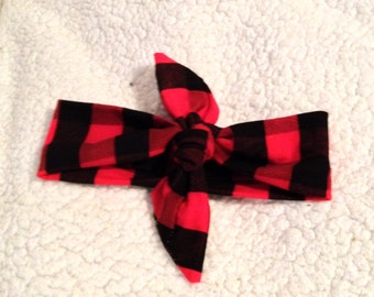 Black and Red plaid tie knot Head band, Baby head band, Head wrap, Baby Gifts, Christmas Head wraps