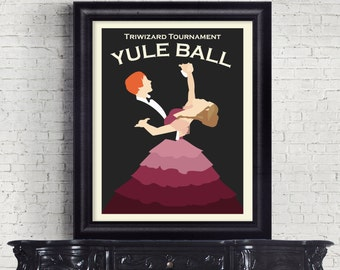 Yule Ball. Triwizard Tournament. Harry Potter. Harry Potter Print. Vintage Print. Poster. Ron and Hermione. Minimalist. Graphic Print.
