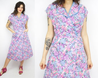 Vintage 30's Inspired Cotton Wrap Field Dress / 1970's Cotton House Dress / Floral / Pockets / Women's Size Large