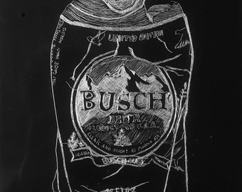 Flattened Busch Beer Can Drypoint Etching *Unique*