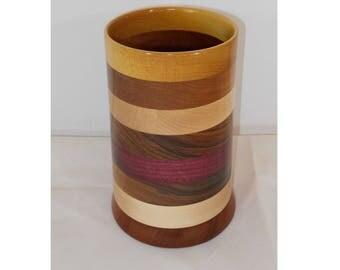 Wooden Striped Spoon Holder, Utensil Organizer, Handmade Wooden Vase #113