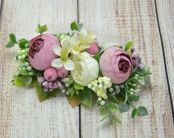 Flower hair comb Gift for girlfriend Bridal hair accessories Wedding hair comb Pink Green Wedding hair accessories Bridal hair comb Gift