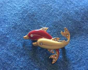 Vintage MC Double Dolphin Enamel Brooch