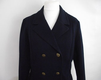 Vintage blazer jacket 60s navy jacket with nautical anchor brass buttons size large extra large