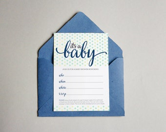 It's a Baby, Shower Write In Invitations (4.75 x 5.75)