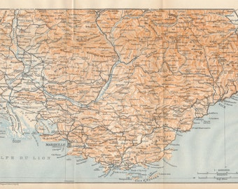 1914 Provence, French Riviera, Mediterranean, South of France Antique Map