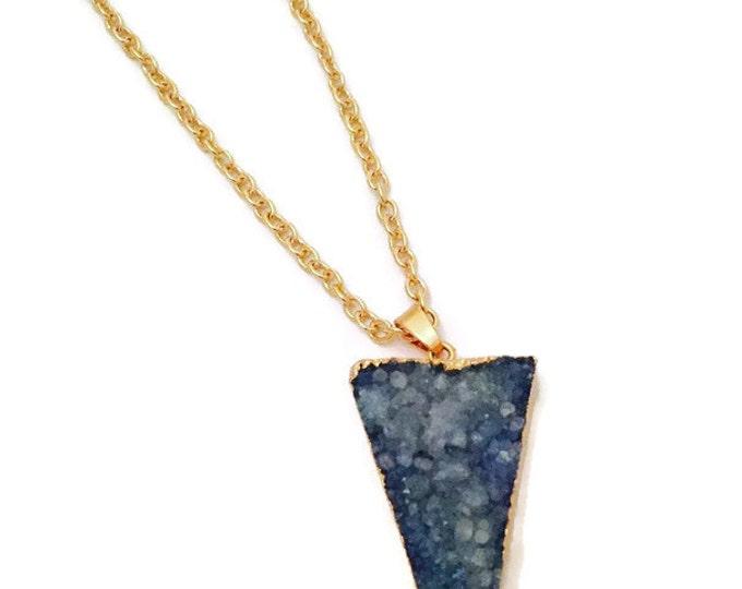 Druzy Necklace- Blue Druzy Necklace on a 30 inch Gold Chain-Druzy Quartz  Crystal Necklace- Druzy Pendant Necklace- Boho Chic Druzy Necklace