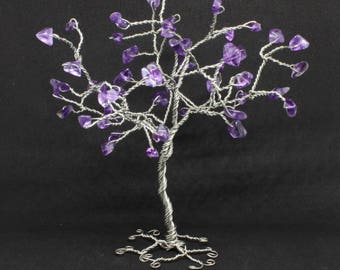 Amethyst Wire tree sculpture, gemstone tree, amethyst tree, wire wrap tree, miniature tree, wire tree of life, birthstone gift, Mother's Day