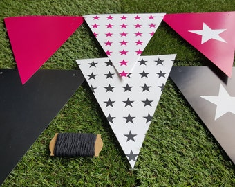 Decorative Star Paper Party Bunting and Twine - Hot Pink, Black and White
