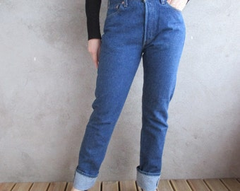 LEVI'S 501 High Waist Jeans 80's, Vintage High Waisted LEVI STRAUSS Jeans 80s, Women High Waist Levis Jeans Denim Blue Jeans,Size 30''/34''