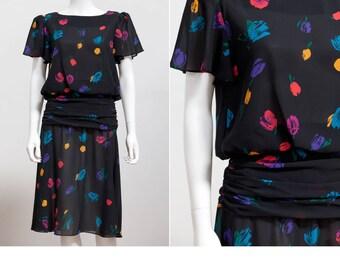 80's Abstract Print Dress • 80s Drop Waist Skirt Dress • 80's Black Dress