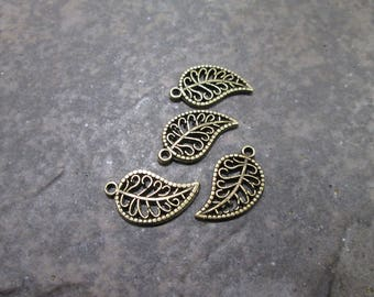 Filigree Leaf Charms package of 4 with antique bronze finish Double Sided Oak leaf charms scroll pattern