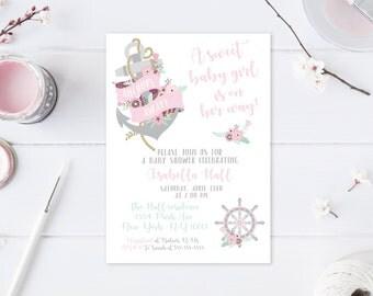 Baby Shower Invitations for Girls, Nautical Baby Shower, Anchor, Baby Girl, Girl Baby Shower Invitations, Baby Shower Invites, Floral [603]