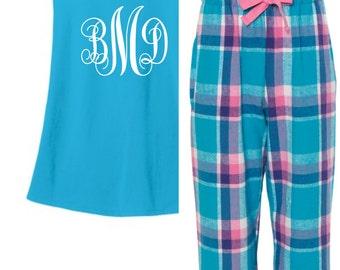 Monogram Sleepwear, Monogram Pajamas, Tank Top Pajama Set